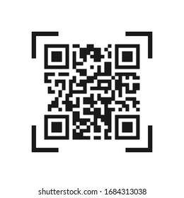 Vector icon of the QR code. Simple flat design for a logo, a sticker for your site or application