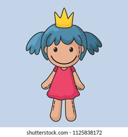 Vector icon of a rag doll princess. The kids toy doll has blue hair, a crown and a pink dress. Illustration cartoon doll toy