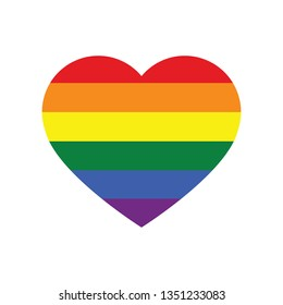 Vector icon of rainbow heart isolated on a white background, LGBT community sign. LGBT pride symbol