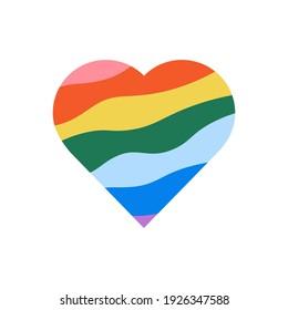 Vector icon of rainbow heart, lgbt community sign symbol