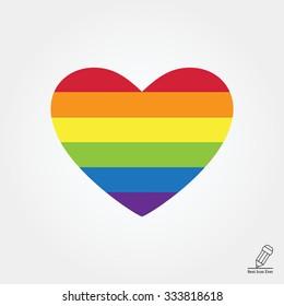 Vector icon of rainbow heart, lgbt community sign