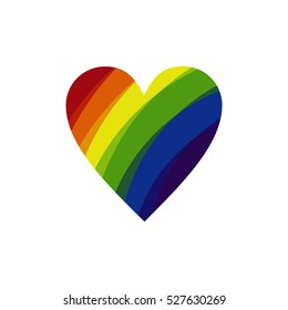 Vector icon of rainbow heart, lgbt community sign.
