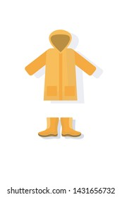 Vector icon. Raincoat and rubber boots
