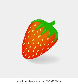 Vector icon red  strawberry. Iimage berry stawberry. Sweet fruit.