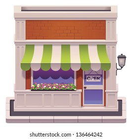 Vector icon representing small shop building with awnings and flowers