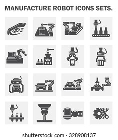 Vector icon of robot or robotic arm and production line  for manufacturing work.