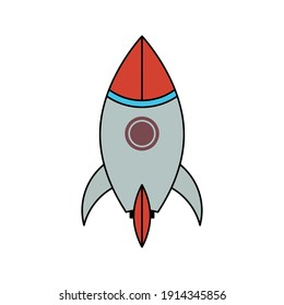Vector icon rocket flying isolated on blank background color editable