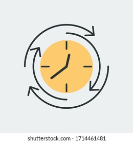 Vector icon of round clock with arrows pointing in different directions. It represents a concept of time management, timer, countdown, schedule. Also can be used as a logo, icon or badge