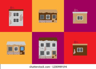 Vector icon ruined poor houses isolated on a red, yellow and violet backgrounds