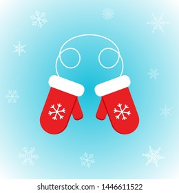Vector icon of Santa Claus mittens in flat style on winter background. Festive Xmas illustration with snowflakes for design, posters, card, invitations, gift, greeting card. Christmas decoration.