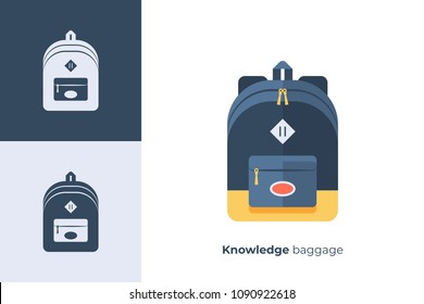 Vector icon of school backpack in flat style.