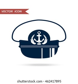 Vector icon sea captain's hat, vector illustration captains hat, isolated on white background.