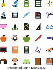 Vector icon set - abacus vector, work desk, notebook, presentation board, document workflow, book, copybook, graduate hat, pen, corner ruler, glasses, apple fruit, atom, telescope, microscope, bell