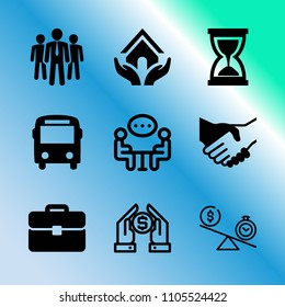 Vector icon set about business with 9 icons related to mock, union, card, window, group, loan, timer, taxi, house and autobus