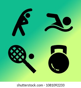 Vector icon set about fitness and sport with 4 icons related to ball, sport, tennis, weight, swimming, stretching exercises, racket, fitnes, barbell and fitness