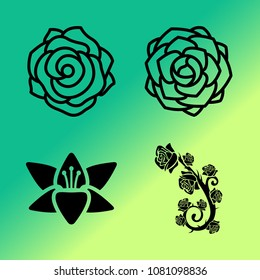 Vector icon set about flowers with 4 icons related to flowers, flower, ornament, roses, peony, rose and lily