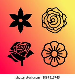 Vector icon set about flowers with 4 icons related to flower, chamomile and rose