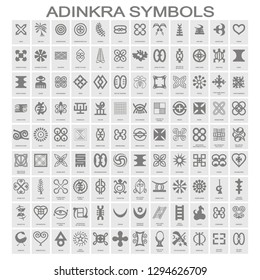 vector icon set with adinkra symbols