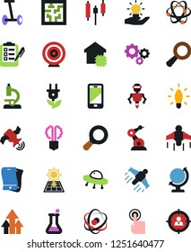 Vector icon set - atom vector, microscope, japanese candle, light bulb, economy, clipboard, gears, flask, globe, satellite, ufo, mobile, touch, idea, jetpack, hoverboard, growth arrow, magnifier