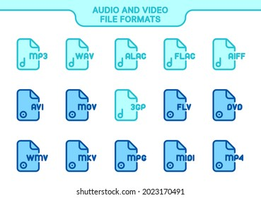 Vector icon set. audio and video file formats line color collection: mp3, wav, alac, flac, aiff, avi, mov, 3gp, flv, dvd, wmv, mkv, mpg, midi, mp4