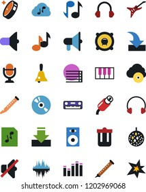 Vector icon set - bell vector, microphone, cd, note, speaker, piano, disco ball, headphones, loudspeaker, musical staff, no sound, graphic equalizer, keys, flute, guitar, graph, audio file, rca