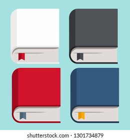 Vector icon set of books. Books with covers of white, red, blue and black. Illustration of books in flat minimalism isometric style.