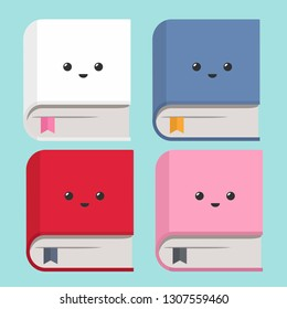 Vector icon set of books. Books of different colors with kawaii faces depicted on the cover. Illustration of books in flat minimalism style.