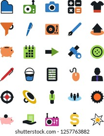 Vector icon set - bucket vector, clothes button, t shirt, dollar sign, pen, document in hand, calendar, funnel, abacus, photo camera, piggy bank, calculator, arrow down, target, satellite, man, user