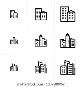 Vector icon set of building elements isolated on white background.