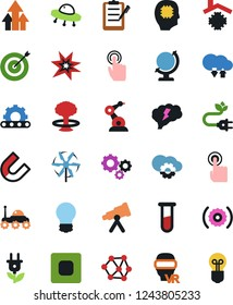 Vector icon set - bulb vector, clipboard, gears, neural network, nuclear fusion, vial, globe, telescope, space rover, ufo, touch, chip, growth arrow, target, bang, magnet, industrial robot, conveyor