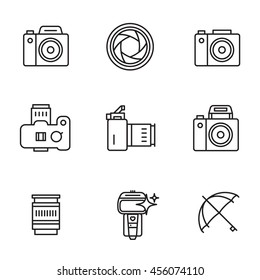 Vector icon set for camerist.  Elements for photographer logos. Modern line art style.  Black and white.