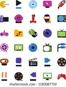 Vector icon set - cd vector, joystick, film roll, clap, pc game, tv, vr glasses, monitor, play button, stop, pause, fast forward, rewind, music folder, rca, video camera, web, gamepad