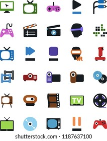 Vector icon set - cd vector, joystick, film frame, clap, pc game, tv, vr glasses, monitor, roll, play button, stop, pause, fast forward, rca, video camera, web, projector, gamepad