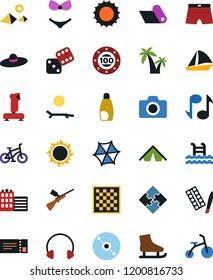 Vector icon set - cd vector, joystick, paint, note, dice, chess board, paintball, skates, pool, photo camera, headphones, tent, casino chip, puzzle, sun, lounger, sunscreen, mat, hotel, palm, ticket