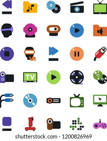 Vector icon set - cd vector, joystick, clap, pc game, tv, vr glasses, monitor, film roll, play button, stop, pause, fast forward, rewind, music folder, rca, video camera, web, projector, gamepad