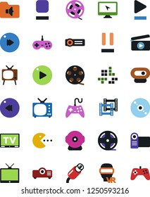 Vector icon set - cd vector, joystick, film roll, frame, clap, pc game, tv, vr glasses, monitor, play button, stop, pause, fast forward, rewind, music folder, rca, video camera, web, projector