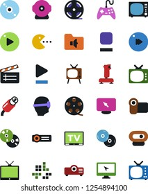 Vector icon set - cd vector, joystick, film roll, clap, pc game, tv, vr glasses, monitor, play button, stop, fast forward, music folder, rca, video camera, web, projector