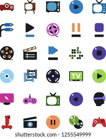 Vector icon set - cd vector, joystick, film roll, frame, clap, pc game, tv, vr glasses, monitor, play button, stop, pause, fast forward, rewind, rca, projector, gamepad