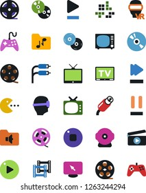 Vector icon set - cd vector, joystick, film roll, frame, clap, pc game, tv, vr glasses, monitor, play button, stop, pause, fast forward, music folder, rca, web camera, gamepad