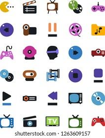 Vector icon set - cd vector, joystick, film roll, frame, clap, pc game, tv, vr glasses, play button, stop, pause, fast forward, rewind, music folder, video camera, web, projector, gamepad