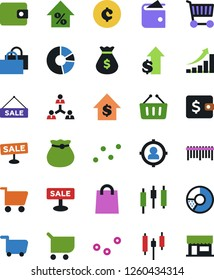 Vector icon set - circle chart vector, money bag, wallet, cart, barcode, sale, japanese candle, percent growth, dollar, cent sign, staff, target audience, graph, point, store, basket, shop