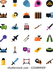 Vector icon set - clothes rack vector, award cup, gold ingot, hand trainer, guitar pick, horn, anchor, meat grinder, computer, heater, mine, sword, viking helmet, truncheon, spear, shuriken, medal