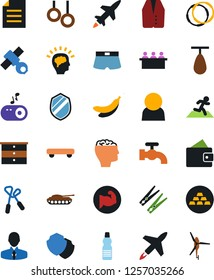 Vector icon set - clothespin vector, water tap, chest of drawers, vest, meeting, skateboard, wallet, manager, gold ingot, jump rope, punching bag, muscule hand, shorts, bottle, hoop, gymnast rings