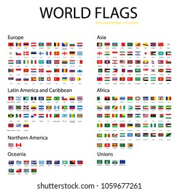 Vector icon set, collection world flags. Europe, Asia, Africa, Northern and Latin America, Australia