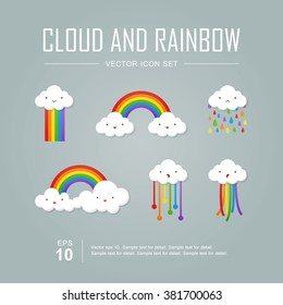 Vector icon set, Color rainbow with emotion clouds.