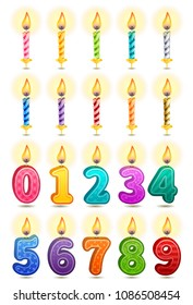 Vector icon set - colorful birthday candles on white background.