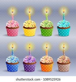 Vector icon set - colorful birthday cupcakes with candles. EPS10