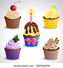 Vector icon set - colorful cupcakes. EPS10