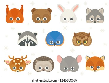 Vector icon set of cute forest animals: squirrel, brown bear, white hare or rabbit, wolf, raccoon, bird (eastern bluebird), owl, spotted deer, hedgehog, mouse and fox. Animal masks for children.