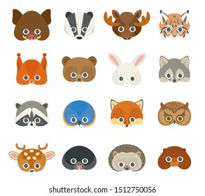 Vector icon set of cute forest animals. Collection of animal masks for children.